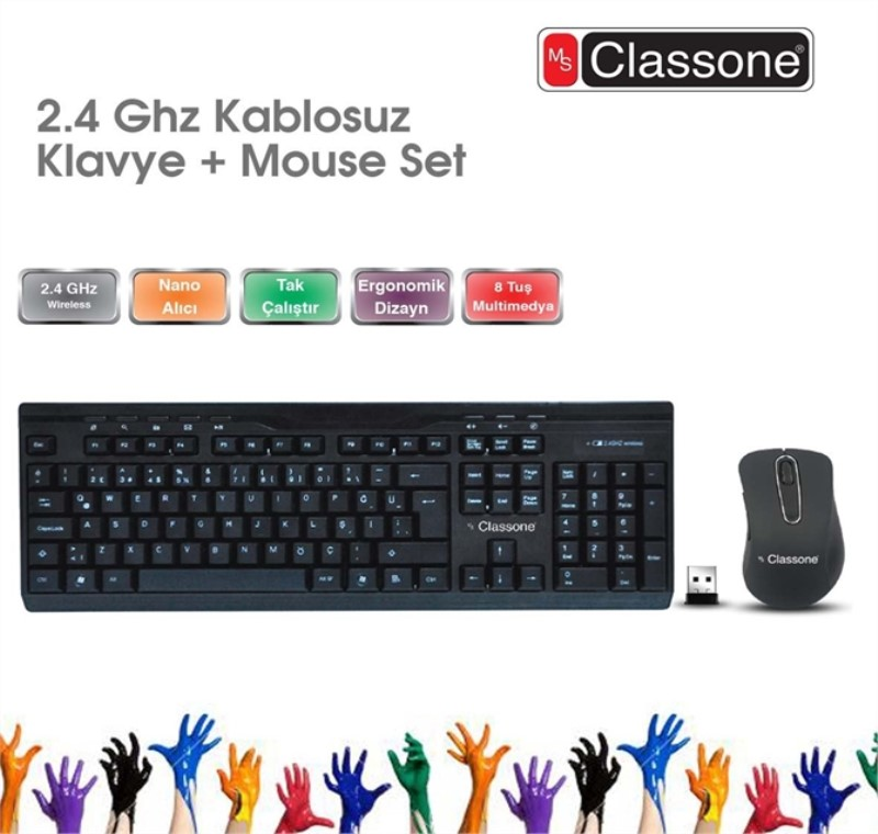 CLASSONE.2.4 GHz Q Multimedia Kablosuz Klavye + Mouse Set